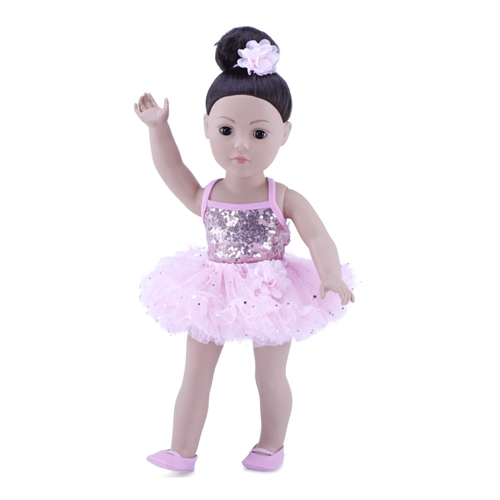 38e20d621 18-Inch Doll Clothes - Ballerina Outfit with Black Unitard