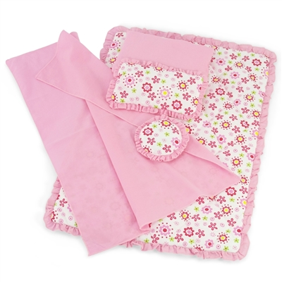 18-Inch Doll Accessories - Reversible Floral Print Bedding Set with Comforter, 3 Pillows and Sheet - fits American Girl ® Dolls