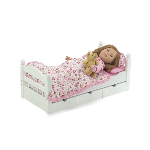 Fits 18 American Girl Dolls 3 Pillows and Sheet Reversible Floral Print Bedding Set with Comforter 18 Inch Doll Accessories