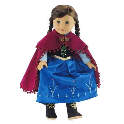 18-inch Doll Clothes - Princess Anna Inspired Dress with Boots - fits American Girl ® Dolls