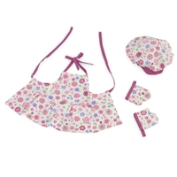 18-Inch Doll Clothes - Pink Floral Baking Outfit with Apron, Oven Mittens and Chef Hat - fits American Girl ® Dolls
