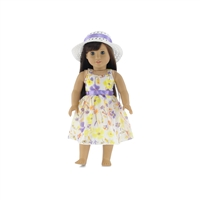 18 Inch Doll Clothes - Yellow Flowered Party Dress with White Hat - fits American Girl ® Dolls