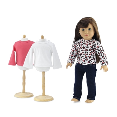 18-Inch Doll Clothes - 3 Long-Sleeved T-Shirts with Blue Skinny Jeans - fits American Girl ® Dolls