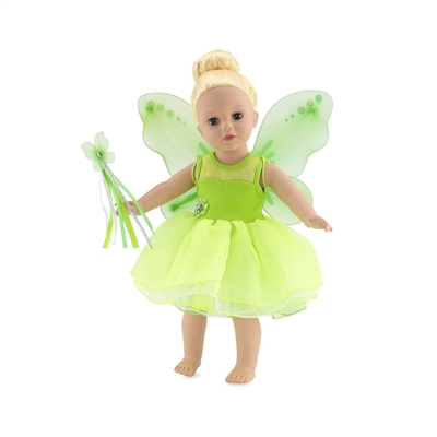 18-Inch Doll Clothes - Tinkerbelle-Inspired Fairy Outfit with Wings and Wand - fits American Girl ® Dolls