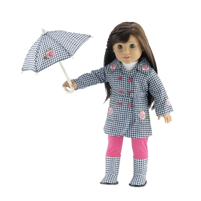 18-Inch Doll Clothes - Five-Piece Raincoat Outfit with Boots and Umbrella - fits American Girl ® Dolls