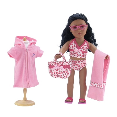 18-Inch Doll Clothes - Six-Piece Pink Leopard Print Tankini Swimsuit Set - fits American Girl ® Dolls