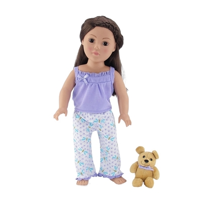 18-Inch Doll Clothes - Lavender and Blue Dragonfly Print Pajamas/PJs with Teddy Bear - fits American Girl ® Dolls