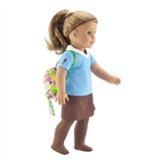 18-inch Doll Clothes - Brownie Uniform Activity Bundle - Blue Shirt, Tights, Backpack - fits American Girl ® Dolls