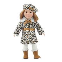 18-Inch Doll Clothes - Five-Piece Faux Leopard Coat Jacket Outfit - fits American Girl ® Dolls