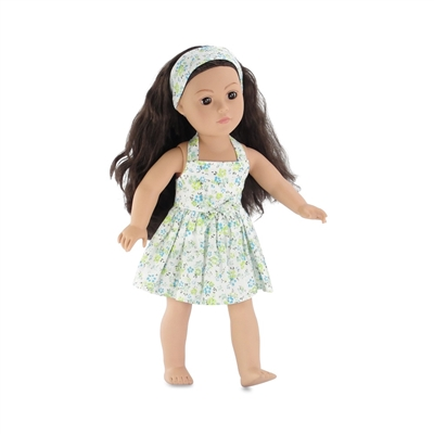 18 Inch Doll Clothes - Blue and Green Flowered Halter Dress - fits American Girl ® Dolls