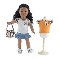 18-Inch Doll Clothes - Blue Denim Ruffled Skirt and T-Shirt Set with Sneakers and Purse - fits American Girl ® Dolls