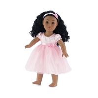 18-Inch Doll Clothes - Pink Flower Girl Tutu Dress with Headband - fits American Girl ® Dolls