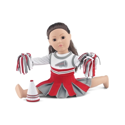 18-Inch Doll Clothes - Team OSU-Inspired Cheerleading Outfit with Pompoms and Megaphone - fits American Girl ® Dolls