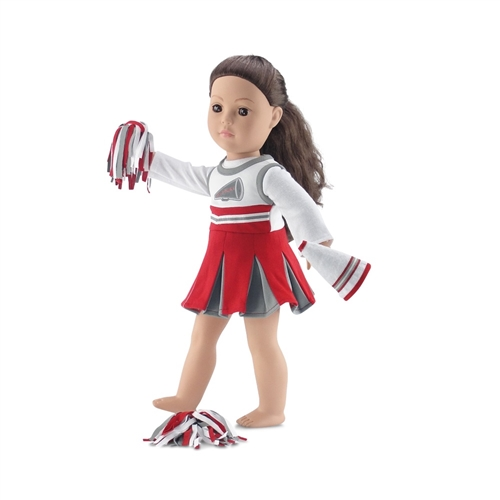 450de5dbfc3 18-Inch Doll Clothes - Team OSU-Inspired Cheerleading Outfit with Pompoms  and Megaphone - fits American Girl ® Dolls