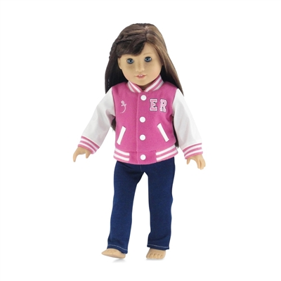 18-Inch Doll Clothes - Varsity School Jacket Outfit with Jeans and T-Shirt - fits American Girl ® Dolls