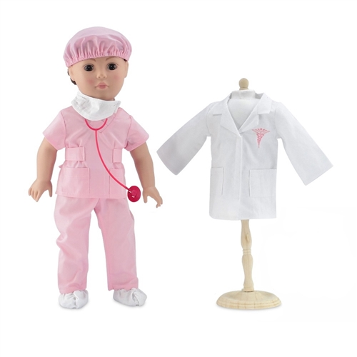 f631215d299 18-Inch Doll Clothes - Doctor/Nurse Hospital Pink Scrubs Outfit with ...