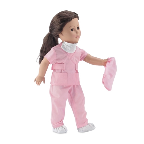 0d3f4c96d03 18-Inch Doll Clothes - Doctor/Nurse Hospital Pink Scrubs Outfit with White  Doctor's Coat - fits American Girl ® Dolls