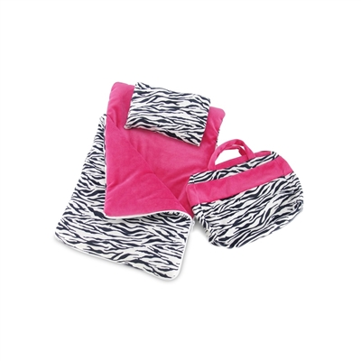 18-Inch Doll Accessories - Zebra Print Sleeping Bag Set with Pillow - fits American Girl ® Dolls