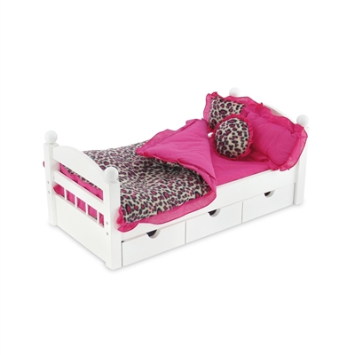 18 Inch Doll Accessories - Reversible Pink Cheetah Print Bedding Set - fits American Girl ® Dolls