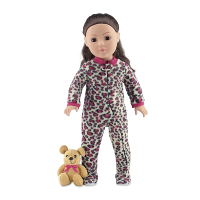 18 Inch Doll Clothes - Cheetah Print One-Piece Footed Pajamas/PJs with Teddy Bear - fits American Girl ® Dolls