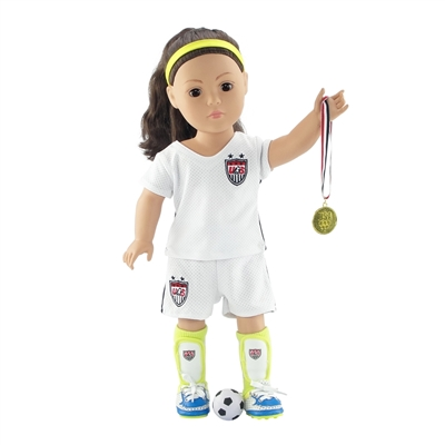 18-Inch Doll Clothes - Team USA-Inspired 7 Piece Soccer Uniform Outfit - fits American Girl ® Dolls