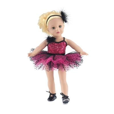 18-inch Doll Clothes - Pink and Black Jazz Ballet Outfit, Headband, and Tap Shoes - fits American Girl ® Dolls