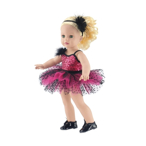 """Black Patent Tap//Jazz Dance Shoes Fits 18/"""" American Girl Doll"""