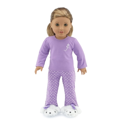 18-inch Doll Clothes - Lavender Polka Dot Pajamas/PJs plus Puppy Slippers - fits American Girl ® Dolls