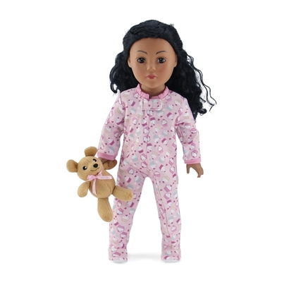18-inch Doll Clothes - Pink Cupcake Print One-Piece Footed Pajamas/PJs with Teddy Bear - fits American Girl ® Dolls