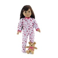 18-inch Doll Clothes - Ladybug Print One-Piece Footed Pajamas/PJs with Teddy Bear - fits American Girl ® Dolls