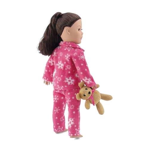18 Inch Doll Clothes Fits American Girl Dolls Cozy Bright Pink and White Snowflake Print 2 Piece Pajama PJ Outfit with Teddy Bear