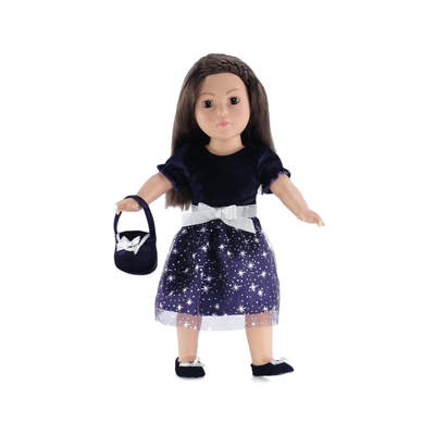 18 Inch Doll Clothes - Purple Silver Star Dress with Shoes and Purse - fits American Girl ® Dolls