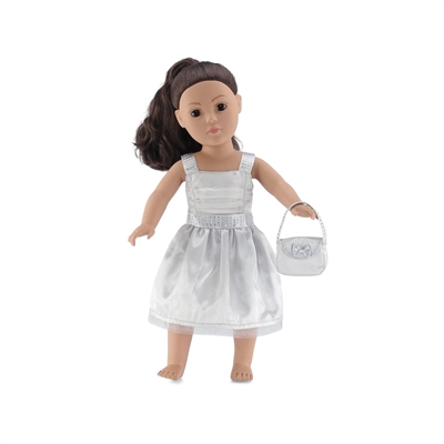 18 Inch Doll Clothes - Silver Party Dress with Purse - fits American Girl ® Dolls