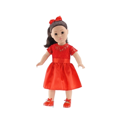 18 Inch Doll Clothes - Lace Dress with Shoes and Ponytail Holder - fits American Girl ® Dolls