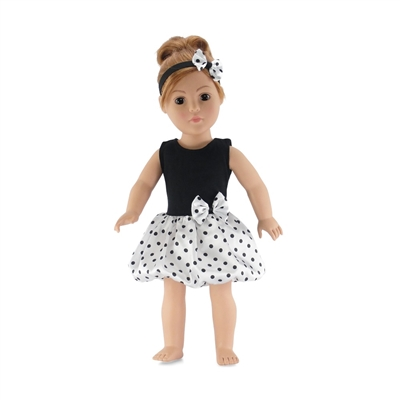18 Inch Doll Clothes - Polka Dot Party Dress with Matching Headband - fits American Girl ® Dolls