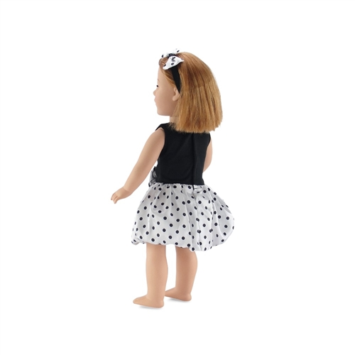 18 Inch Doll Clothes - Polka Dot Party Dress with Matching Headband ...