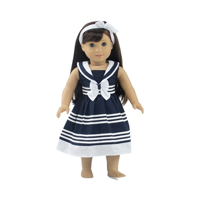 18-inch Doll Clothes - Blue and Whte Nautical-Inspired Party Dress with Headband - fits American Girl ® Dolls