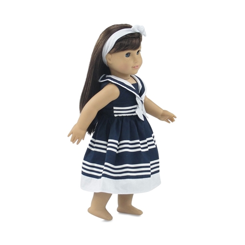 """Red White Blue Nautical Dress Fits 18/"""" American Girl Doll Clothes"""