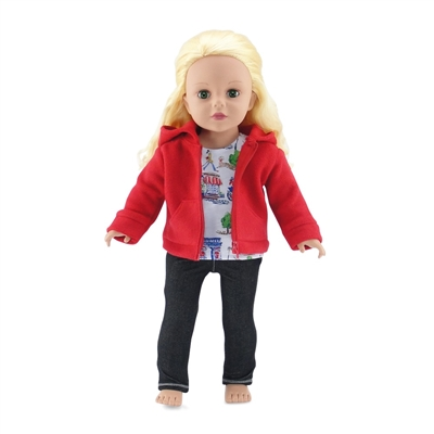 18-inch Doll Clothes - Hooded Fleece Jacket Outfit with Jeans and Paris T-Shirt - fits American Girl ® Dolls