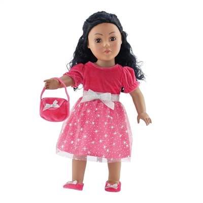 18 Inch Doll Clothes - Pink Silver Star Dress with Shoes and Purse - fits American Girl ® Dolls