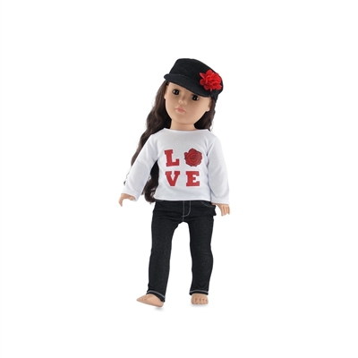 18 Inch Doll Clothes - Love T-Shirt with Black Skinny Jeans and Hat - fits American Girl ® Dolls