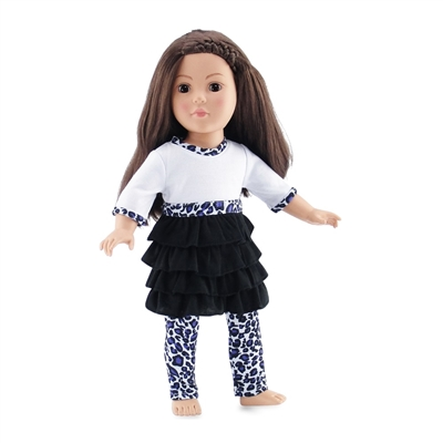 18-inch Doll Clothes - Leopard Print Ruffled Shirt-Dress with Leggings - fits American Girl ® Dolls