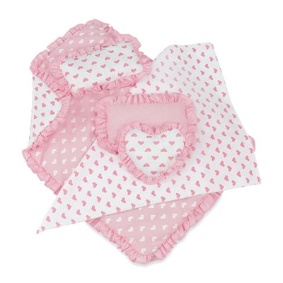 18-Inch Doll Accessories - Reversible Pink Heart Print Ruffled Bedding Set - fits American Girl ® Dolls