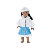 18 Inch Doll Clothes - Ice Blue Winter Dress with Hat and Cape - fits American Girl ® Dolls