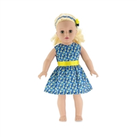18 Inch Doll Clothes - Floral Party Dress with Flowered Headband - fits American Girl ® Dolls