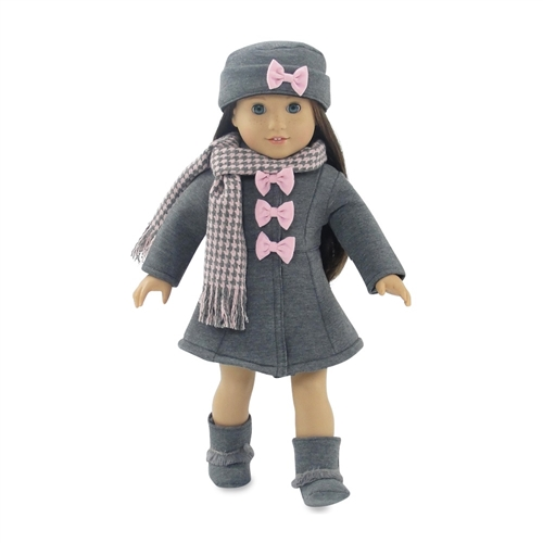 Winter Coat And Hat For 18 inch doll American Girl like Tweed Coat Black Hat