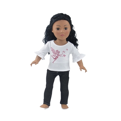 18 Inch Doll Clothes - Skinny Jeans with Pink Glitter Fairy Print T-Shirt - fits American Girl ® Dolls