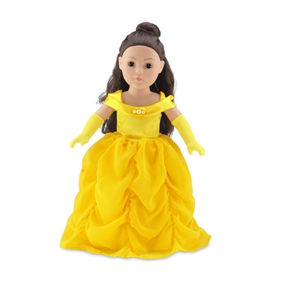 18 Inch Doll Clothes - Princess Belle-Inspired Ball Gown and Gloves - fits American Girl ® Dolls