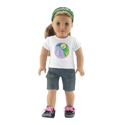 18-inch Doll Clothes - Brownie Scout Camping Badge Outfit - T-Shirt, Shorts, Headband, Hiking Boots - fits American Girl ® Dolls