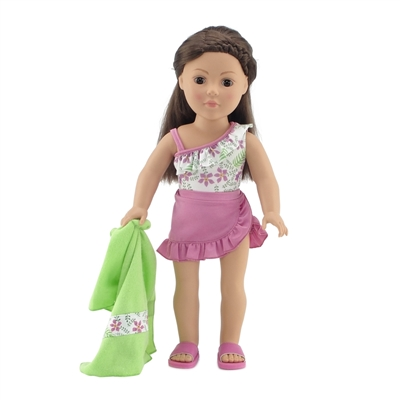 18-Inch Doll Clothes - Four-Piece Pink Floral Print One Piece Swimsuit Set - fits American Girl ® Dolls